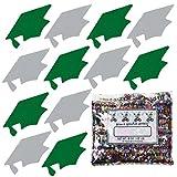 Confetti Grad Cap Green, Silver Combo - Half Pound Bag (8 oz) FREE SHIPPING --- (8405/8410)