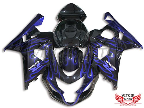 VITCIK (Fairing Kits Fit for Suzuki GSX-R750 GSX-R600 K4 2004 2005 GSXR 600 750 K4 04 05) Plastic ABS Injection Mold Complete Motorcycle Body Aftermarket Bodywork Frame (Blue & Black) A093