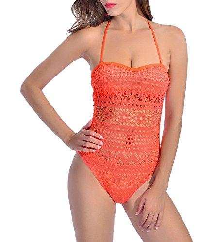 Estivo Donna Pizzo Un Pezzo Costumi da Bagno Tinta Unita Push Up Bikini Swimsuits Sexy Halterneck Senza Schienale Bandeau Swimwear Beachwear Arancia