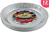 Pactogo 12'' Aluminum Foil Pie Pan Extra-Deep Disposable Tin Plates (Pack of 12)