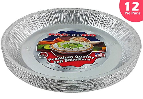 Pactogo 12'' Aluminum Foil Pie Pan Extra-Deep Disposable Tin Plates (Pack of 12) by PACTOGO
