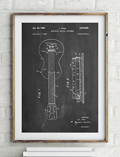 Gibson Les Paul Acoustic Guitar Patent Poster