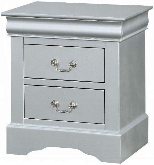 Acme Furniture Night Stand, Platinum