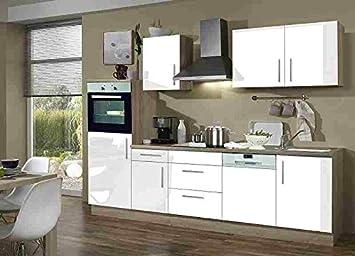 Menke Premium Einbau Küchenzeile Küche 280 cm Eiche Sonoma weiss ...