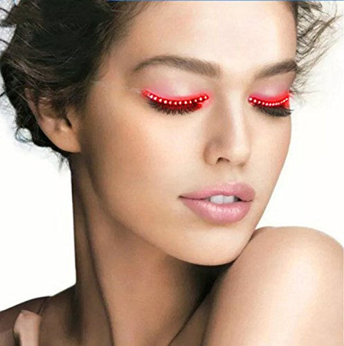 LED Eyelashes with 8 Flashes Models Unisex Flashes Interactive Changing F. Lashes Luminous Shining Charming Eyelid Tape for Party Bar NightClub Concerts Birthday Gift Halloween - Red