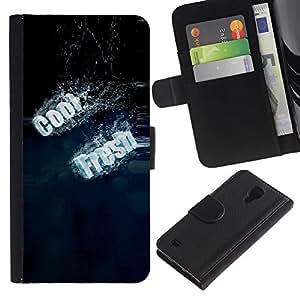 KingStore / Leather Etui en cuir / Samsung Galaxy S4 IV I9500 / Tipografía Fresca Fresco
