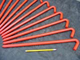 A 24 Pack of Steel Hook Stakes...18'' long....Coated with Safety Orange Enamel