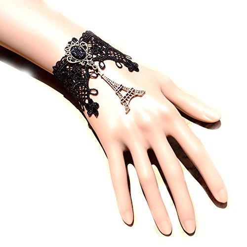 [black floral lace bracelet - Bronze Eiffel Tower pendant Court style charm bracelet - gothic vintage beaded bridal] (Bride Of Dracula Costumes)