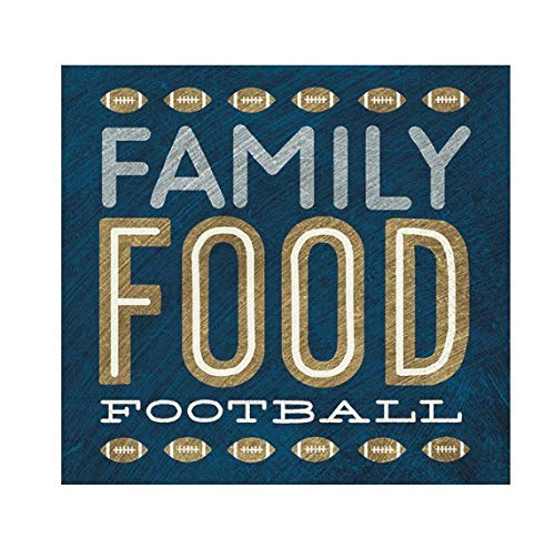 (Football Themed Lunch Napkins, Party Supplies- Family, Food, Football- 20 Napkins, 6.5 x 6.5 inches, Blue and Brown)