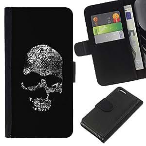 BearCase / Cuero de la tarjeta la carpeta del tirón Smartphone Slots Protección Holder /// Apple Iphone 5C /// Cráneo negro oscuro Death Shadow Huesos