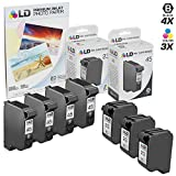 LD Remanufactured Replacement Ink for HP 45 & HP 23 Combo Set - 4 Black HP 45 (51645A) and 3 Tri-Color HP 23 (C1283D)