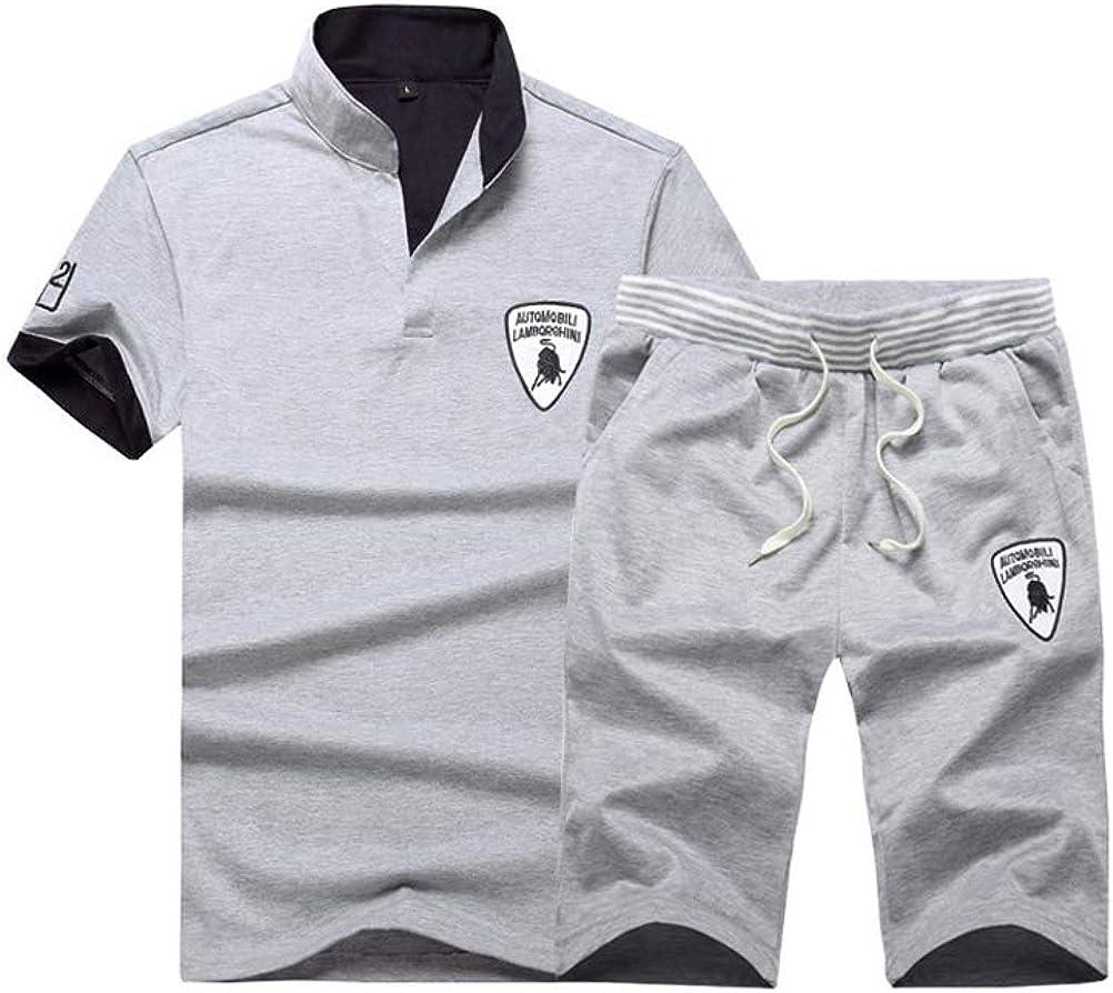 Mallimoda Surv/êtement Homme Ensemble Sports D/écontract/é Bermuda Classique Polo de Manches Courtes Baggy T-Shirt