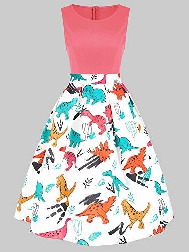 Leomodo Dinosaur Print Sleeveless A Line Dress Flamingo Pink]()