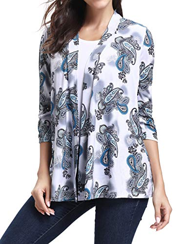 LuckyMore Plus Size Open Front Cardigan,Women's Casual Stretch 3/4 Sleeve Floral Print Cardigan Sweaters White (Print 3/4 Sleeve Cardigan)