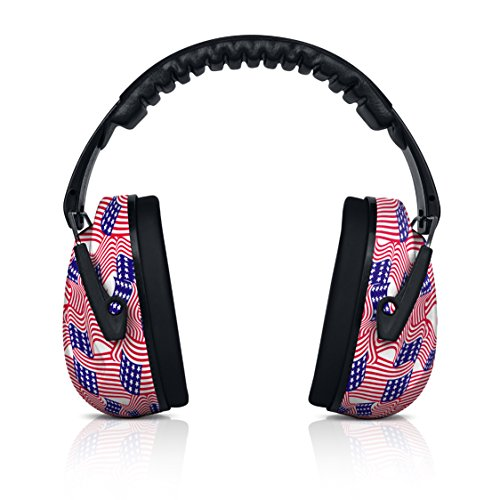 Flag Packing Usa (HearTek Kids Earmuffs Hearing Protection with Travel Bag- Junior Ear Defenders For Children, Padded Ear Protection, Small Adults, Women - Adjustable Protector Noise Reduction Ear Muffs - USA Flag)