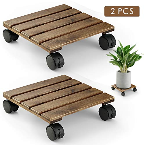 Heavy Duty Plant - LITADA Wood Plant Caddy Heavy Duty, 12 inch Square Plant Roller with Lockable Caster Wheels, Outdoor Caddy Indoor Plant Dolly (2 Pcs)