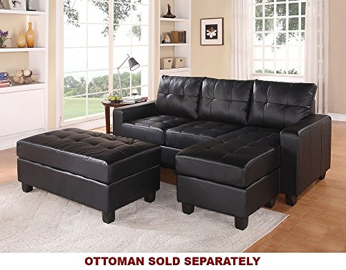 Lyssa ACME Black Bonded Leather Sectional Sofa with Reversible Chaise and Ottoman