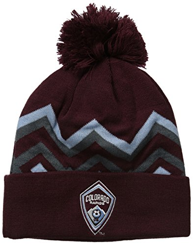 fan products of MLS Colorado Rapids Men's Cuffed Knit with Pom, One Size, Burgundy
