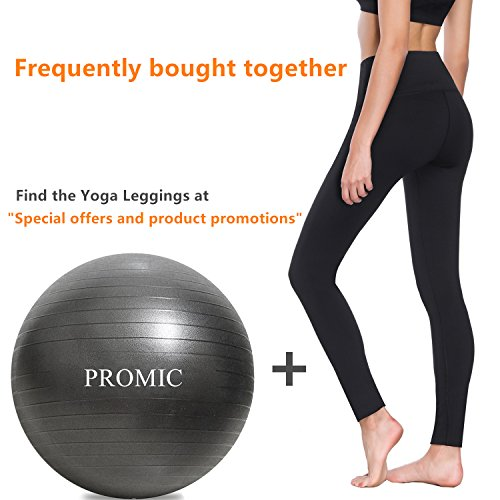 PROMIC Professional Grade Static Strength Exercise Stability Balance Ball with Foot Pump,65cm,Black by PROMIC (Image #8)
