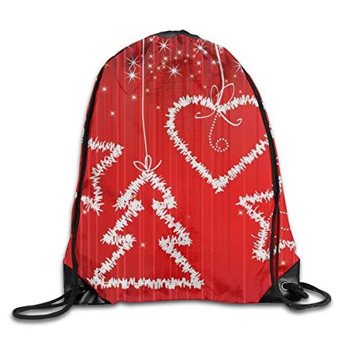 Art-Capital Drawstring Backpack Christmas Tree Heart Star Shoulder Bag Bundle Canvas Backpack Tote Sports Bag ()