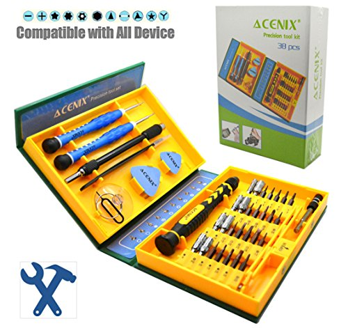 ACENIX [S2 Alloy Steel Material] 38 iN 1 Precision Screwdriver Set - Repair Tools Kit Fixing iPhone Laptop Smartphone MacBook Xbox Watches Glasses with Case