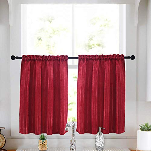 Tier Curtains for Kitchen Spill-Proof Waterproof Dust-Proof Jacquard Window Curtain for Bathroom 36 X 36 inches Set of 2 Red (Red Curtains Kitchen)