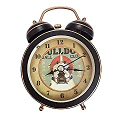 88 store Cute Ball Club Silent Quartz Analog Quiet Non-ticking Retro Vintage Classic Bedside Twin Bell Alarm Clock Wind-Up Clock with Loud Alarm and Nightlight