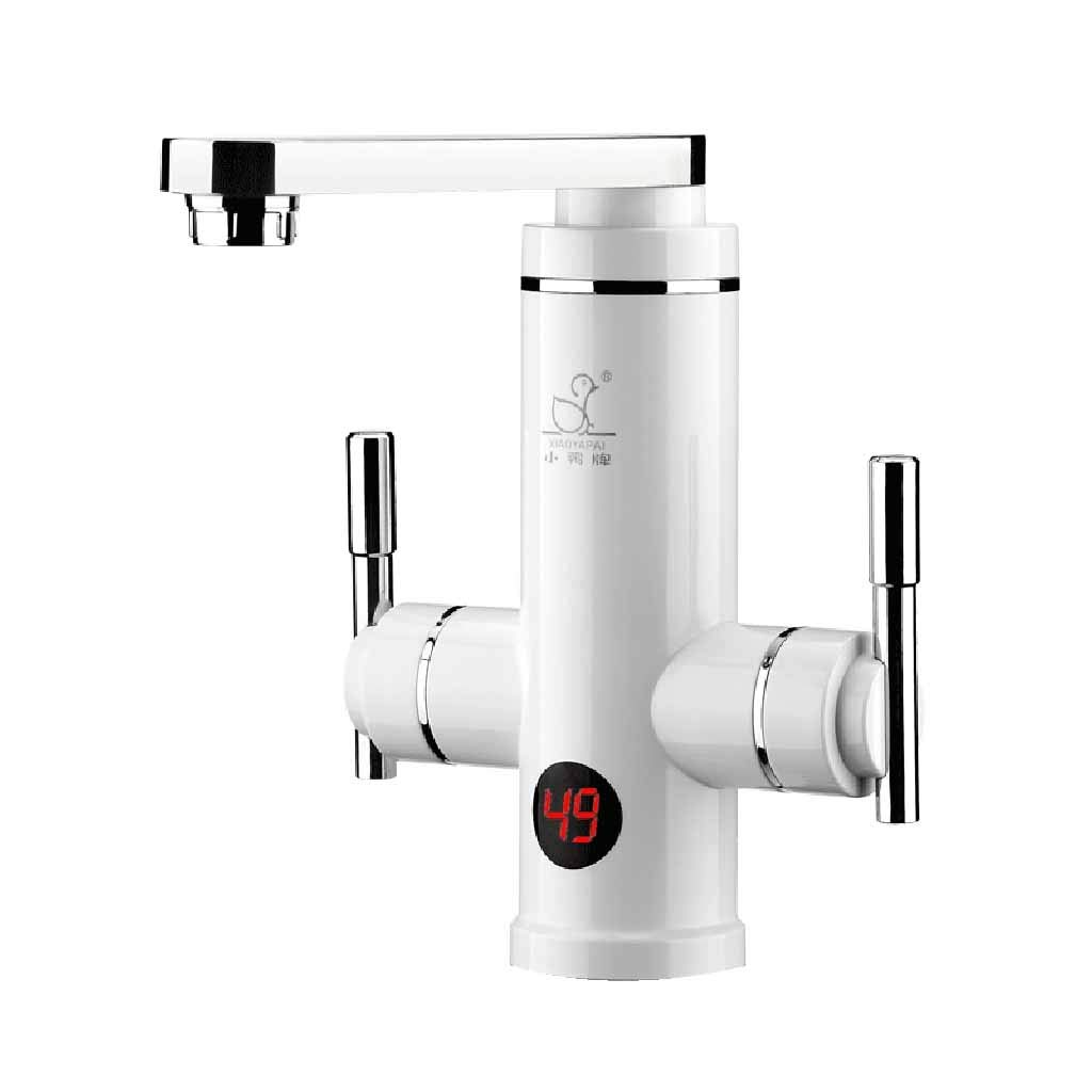 Kitchen Electric Water Heater Faucet Instant Electric Hot Water Tap Stainless Steel Housing Tap 220V 3KW Instant Tankless Electric Water Heater with LED Roscloud@ (Color : White, Size : 3000W)