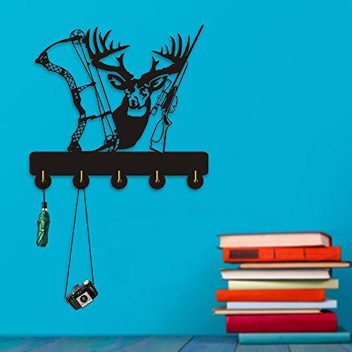 Deer Hunter Household Decor Wall Hooks Animals Multi-Purpose Wall Coat Keys Bags Clothes Hook Hanger Shot Gun Bow Wall Bathroom Decor by The Geeky Days
