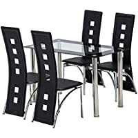Mecor 5 Piece Dining Table Set/Glass Top Table and 4...