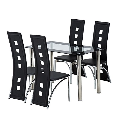 mecor 5 piece dining table set/glass top table and 4 leather chairs kitchen furniture black