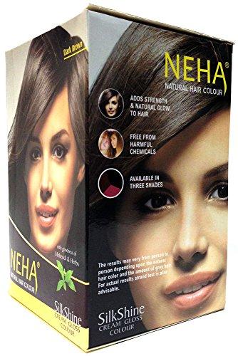 Neha Pflanzliche Natürliche Haarfarbe mit Henna & Kräutern - DUNKEL BRAUN (BOX: 10x15g=150g) | Silk Glanz-Creme Gloss Mehandi