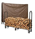 Large USA-Made Steel Log Rack And Vinyl Cover Set