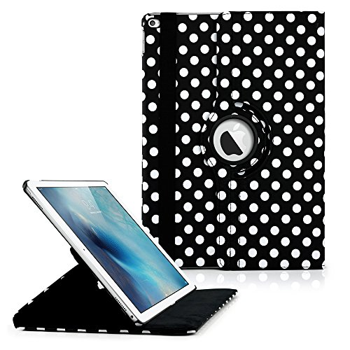360 Degree Rotating PU Leather Case with Sleeping Function Smart Stand Swivel Cover for iPad Pro - Black Polka ()