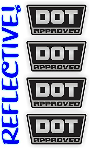 (4) REFLECTIVE - DOT Approved Motorcycle Helmet Stickers ...