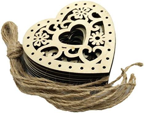 木製 ハート形 手芸用品 ぶら下げ ウェディング クリスマスツリー パーティー飾り ひも付き10個入り