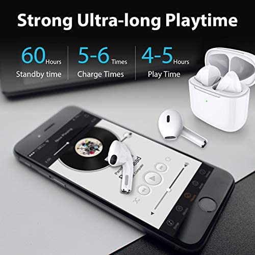 Bluetooth 5.1 True Wireless Earbuds with Charging Case Waterproof Earbuds Comfortable&Lightweight (2.9g) TWS Headphones Earbuds Premium Sound with Deep Bass for Sport,Running (White Dream TWS-O8)