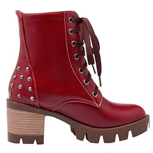 AIYOUMEI Damen Geschlossen Blockabsatz Stiefeletten mit Nieten und Plateau Schnürstiefeletten Martin Stiefel Rot