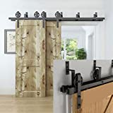 Hahaemall Modern Interior 5FT Big Wheel Bypass Sliding Barn Wooden Door Hardware Double Track Rooling Hangers witn Best Heavy Duty Kit
