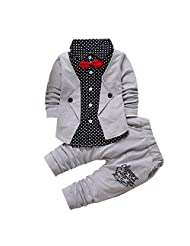 PanDaDa Baby Boys Autumn Bow Tie T-shirt Tops+Cotton Pants Outfits Set
