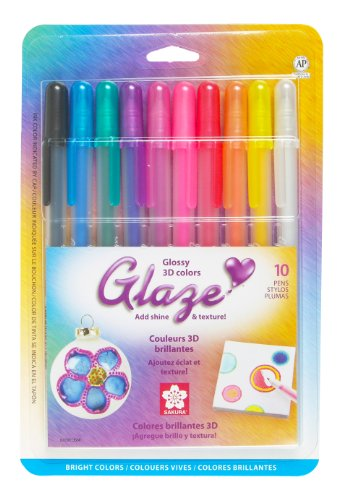 Sakura 38370 10-Piece Blister Card Glaze Assorted Color 3-Dimensional Glossy Ink Pen Set, Bright