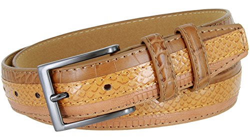 Brown Snake Genuine Belt (Genuine Leather Belt with Alligator, Lizard and Snake Skin Embossing (Tan, 36))