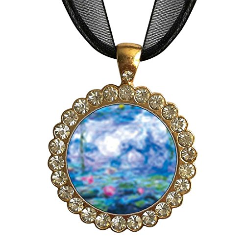 GiftJewelryShop Gold-Plated Monet's Nympheas Water Lilies White Crystal Charm Pendant Necklace ()