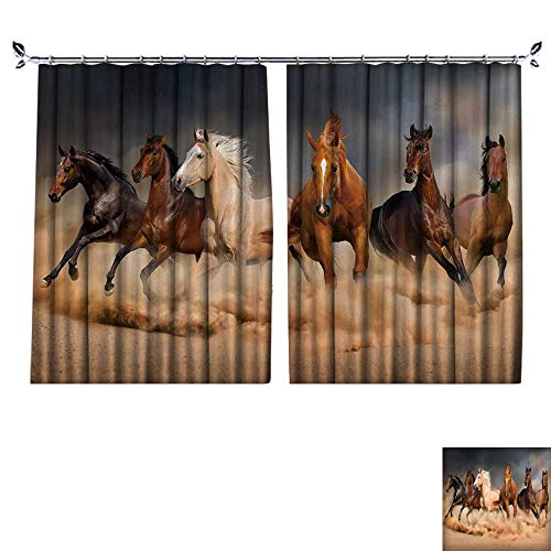 DESPKON Active Printing Fabric Polyester Material Horse Herd Run in Desert Sand Storm Against Dramatic Sky for Cartoon Children's Room W72 x L63