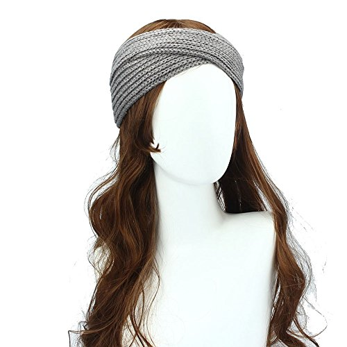 Cross Crochet (Ximandi Crochet Knitting Woolen Headbands Winter Women Bohemia Weaving Cross Bandeau (Gray, Stretchable))
