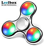 Leelbox Fidget Spinner Colorful LED Tri-Spinner Fidget ,silver Spinner Toy 3 type flash for relieving ADHD, Anxiety, Boredom