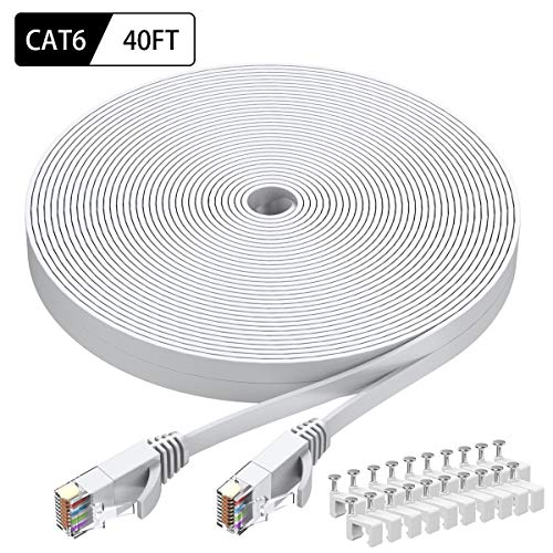 (Cat6 Ethernet Cable 40 FT White, BUSOHE Cat-6 Flat RJ45 Computer Internet LAN Network Ethernet Patch Cable Cord - 40 Feet)