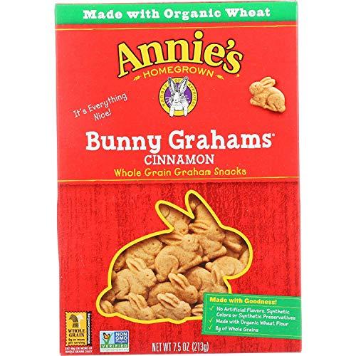 Annies Cinnamon Bunny - Annies Homegrown Graham Snacks - Organic - Bunny Grahams - Cinnamon - 7.5 oz - (Pack of 3) - Non GMO