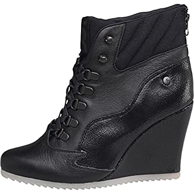 Reebok Womens Alicia Keys Wedge Boots Black White (UK 7.5 Euro 41 ... 8c03eb02a