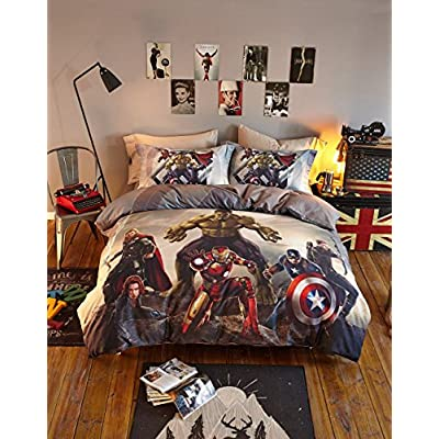 Haru Homie Luxurious 100% Cotton Duvet Cover 3D Avengers Kids Reversible Bedding Set with Zipper Closure - Comfortable, Fade Resistant and Extremely Durable, Full/Queen: Home & Kitchen